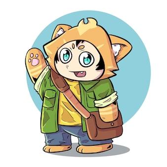 Cute orange cat mascot illustration