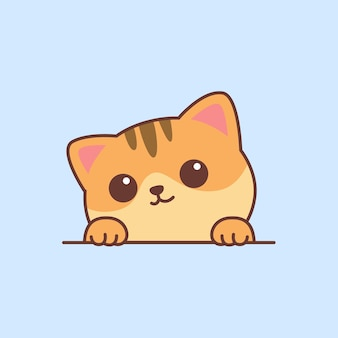 Cute orange cat paws up over wall cartoon vector