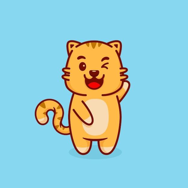 かわいいオレンジ色の猫のまばたきと手を振る足。ベクトルイラスト