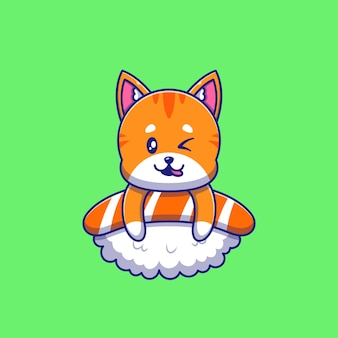Cute orange cat winking on top of sushi illustration. cat mascot cartoon characters animals icon concept isolated.