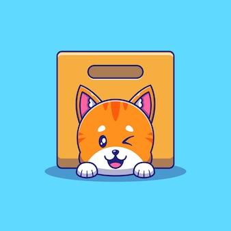 Симпатичный оранжевый кот, подмигивая под коробкой иллюстрации. кошка талисман персонажей из мультфильма животные значок концепции изолированы.