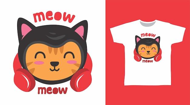 헤드폰 tshirt 디자인으로 귀여운 오렌지 고양이