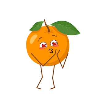 Cute orange character falls in love with eyes hearts isolated on white background. the funny or sad hero, bright vegetable. vector flat illustration