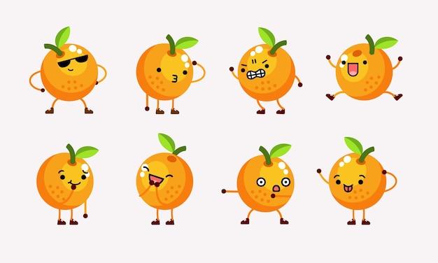 ポーズや表情の違うキュートなオレンジ色のキャラクターマスコットイラスト