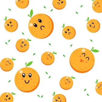 Cute orange character pattern vector