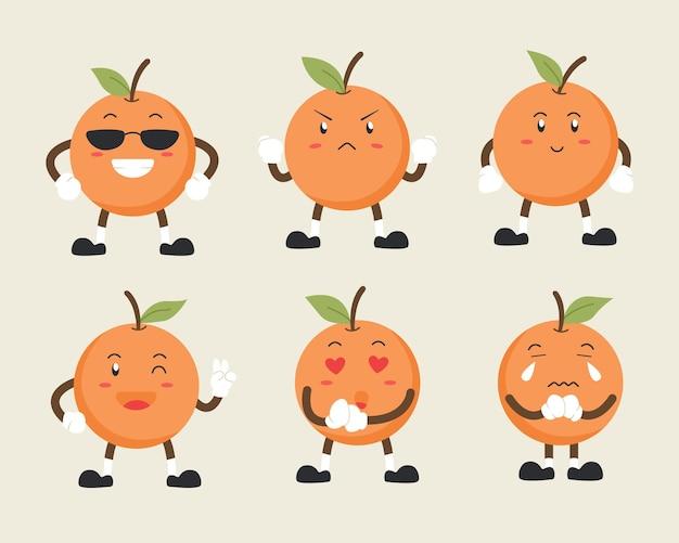 여러 표현에 귀여운 주황색 문자 세트