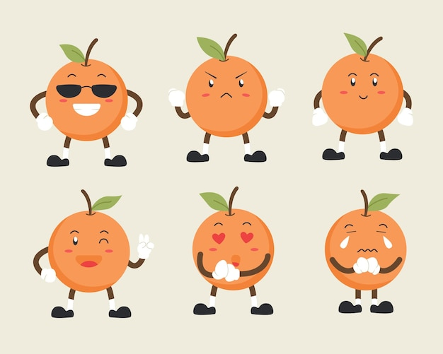 Cute orange character set in multiple expressions