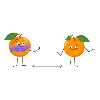 Cute orange character with mask keep distance isolated on white background. the funny or sad hero, bright fruit and vegetable with mask. vector flat illustration