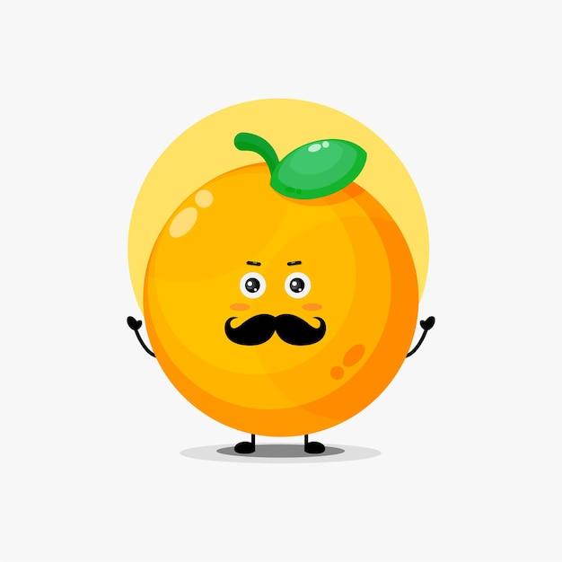 口ひげとかわいいオレンジ色のキャラクター
