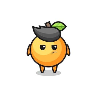 의심스러운 표정을 지닌 귀여운 오렌지 과일 캐릭터, 티셔츠, 스티커, 로고 요소를 위한 귀여운 스타일 디자인
