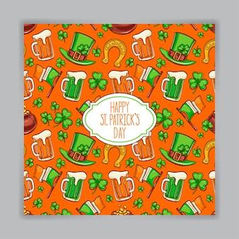 Симпатичная оранжевая открытка на день святого патрика