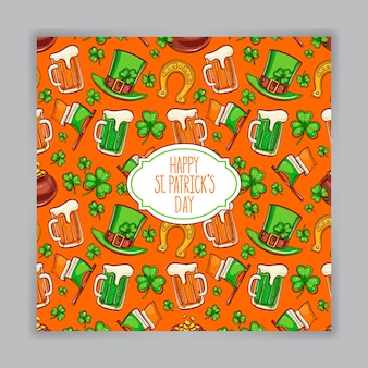 Cute orange greeting card for st. patrick`s day