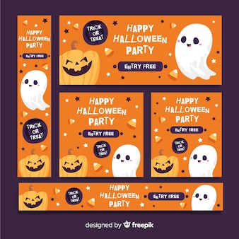 Cute orange halloween banner web