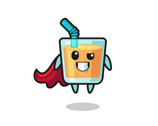 The cute orange juice character as a flying superhero , cute style design for t shirt, sticker, logo element