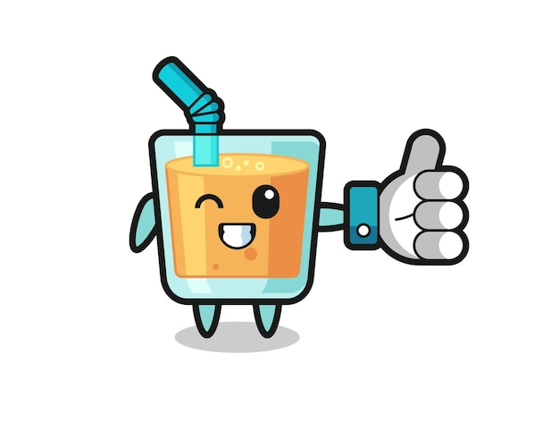 Cute orange juice with social media thumbs up symbol , cute style design for t shirt, sticker, logo element