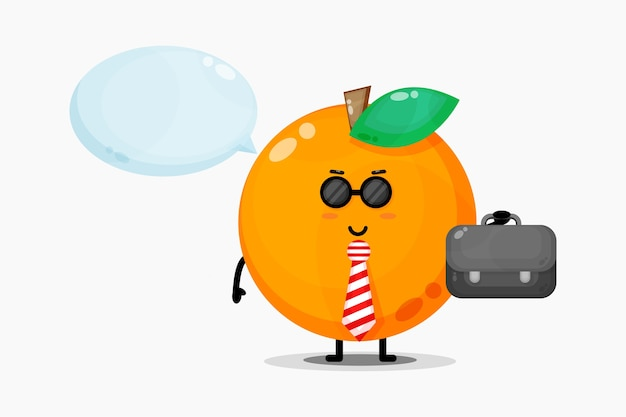 かわいいオレンジ色のマスコットがオフィスに行く
