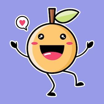 Cute orange mascot isolated on purple
