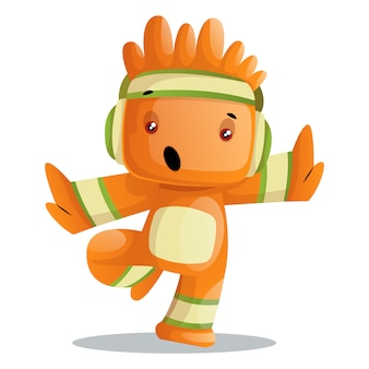 Cute orange monster doing tai-chi gym workout