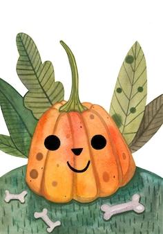 Cute orange pumpkin character in watercolor with green leaves and bones.