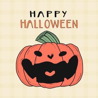 Симпатичная оранжевая тыква, смеющаяся улыбка, искусство тяги к хэллоуину, идея для поздравительной открытки, для печати, настенное искусство
