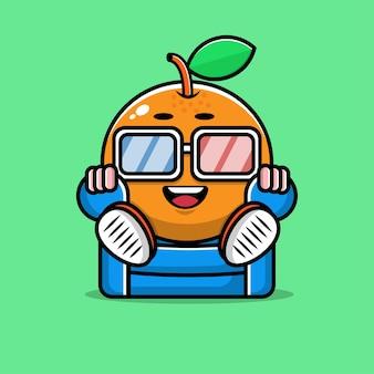 Cute orange sit and watch movie cartoon illustration