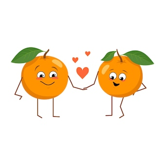 Cute oranges characters with emotions the funny or happy heroes orange fruit fall in love