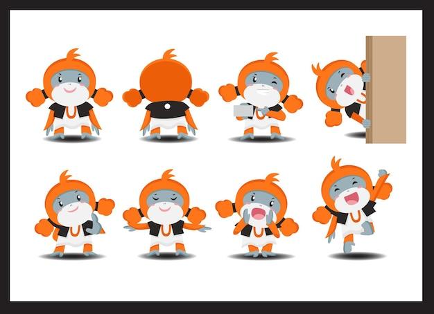 8つの代替ポーズを持つかわいいオランウータンのキャラクター