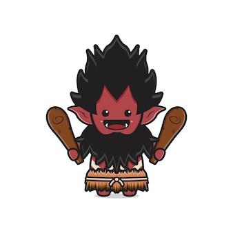 Cute orc holding club wooden cudgel cartoon icon illustration. design isolated flat cartoon style