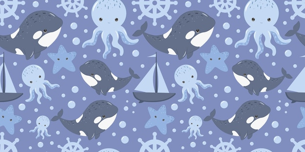 Cute orca seamless pattern for children fabric wallpaper and many more