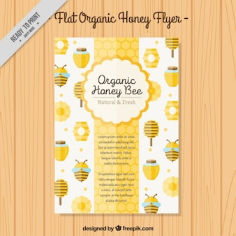Cute organic honey brochure