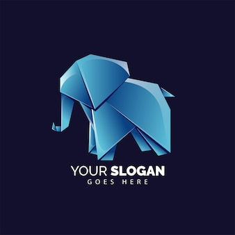Cute origami elephant logo style