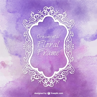 Cute ornamental frame with watercolor background