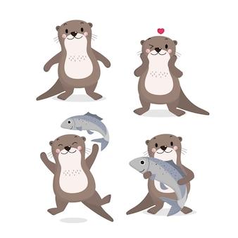 귀여운 수달과 물고기 벡터