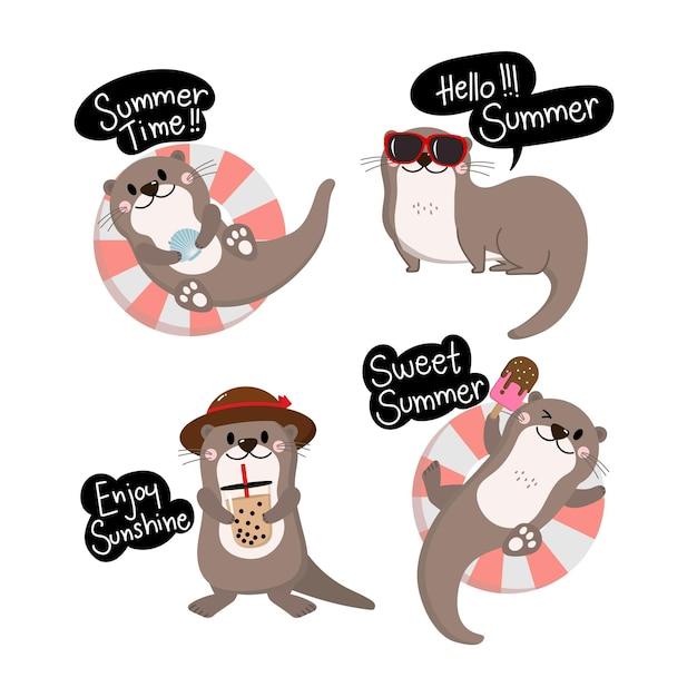 귀여운 수달과 조개 만화 캐릭터
