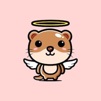 귀여운 수달 천사 캐릭터 디자인