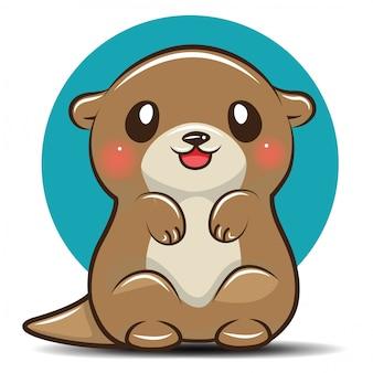Cute otter cartoon, animal cartoon concept.