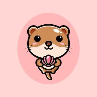분홍색 조개를 들고 귀여운 수달