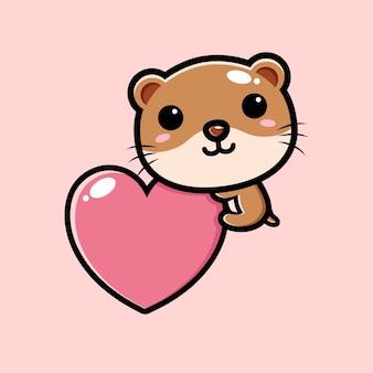 사랑의 마음을 안고있는 귀여운 수달