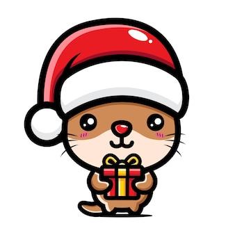귀여운 수달이 크리스마스를 축하하고 있다