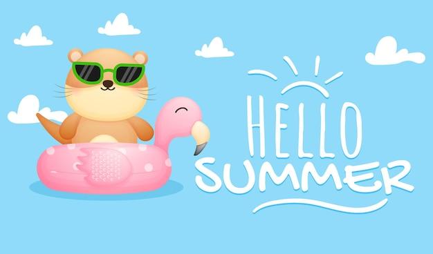여름 인사말 배너와 플라밍고 부표에 귀여운 수달