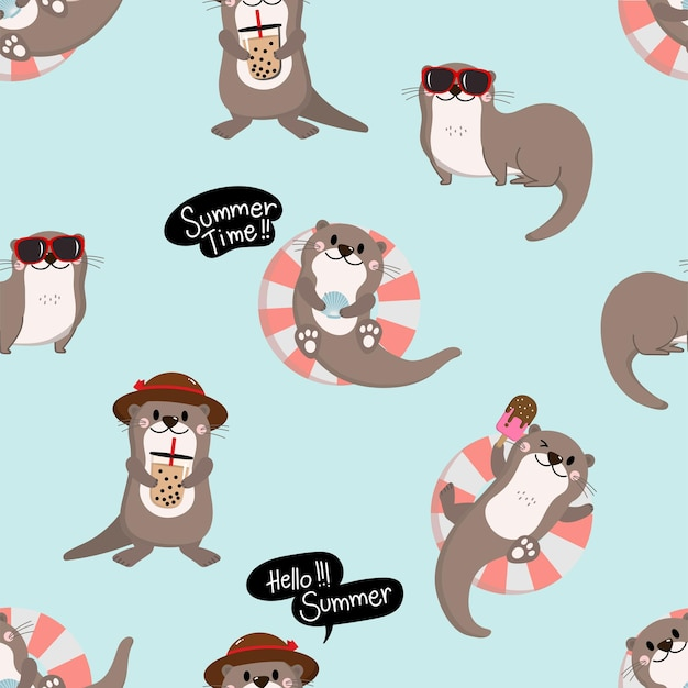 Cute otter in summer holidays seamless pattern