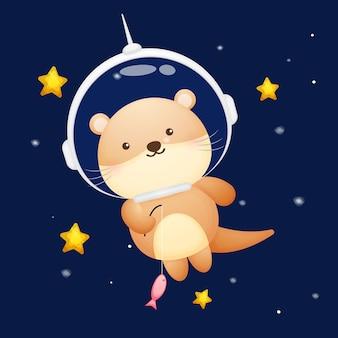 宇宙飛行士のヘルメットをかぶったかわいいカワウソ。動物の漫画