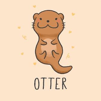 Cute otter мультфильм рисованной стиль