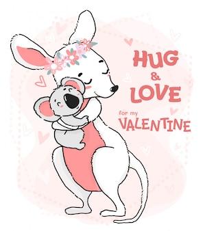 かわいい輪郭描画コアラの抱擁と愛のカンガルーグリーティングカード