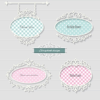 Cute oval frames and signboard.