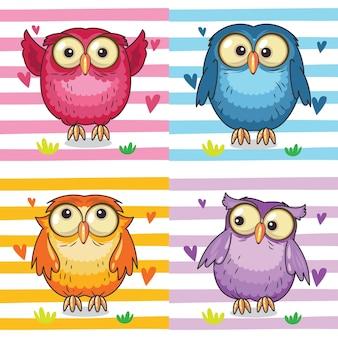 Cute owl animal set