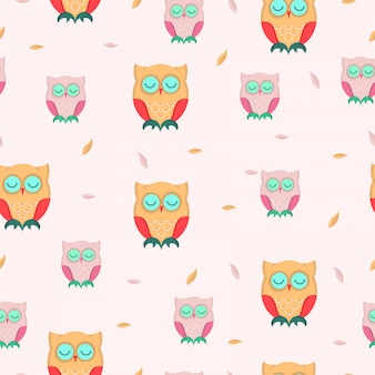 Cute owl autumn seamless pattern.