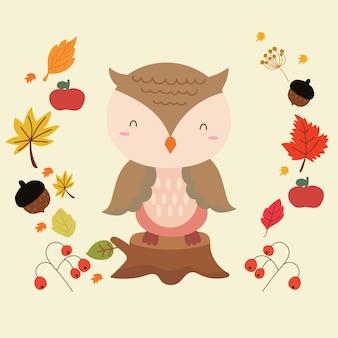 Cute owl in autumn