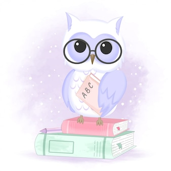 Cute owl and books hand drawn animal illustration