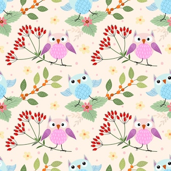 Cute owl on branch seamless pattern can use for fabric textile.